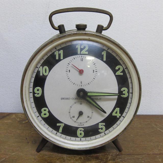 CA002 SEIKO CORONA セイコー コロナ ゼンマイ式目覚まし時計 黒