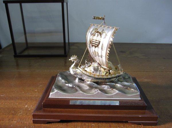 純銀置物 宝船(鳳凰) 武比古作