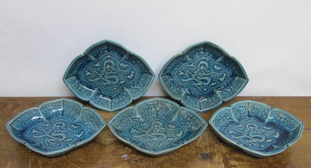 民平焼 青色龍文菱形皿5枚セット