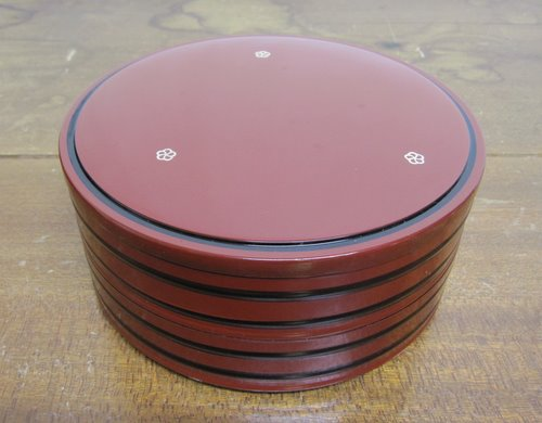 昭和レトロな梅柄丸重箱 2段
