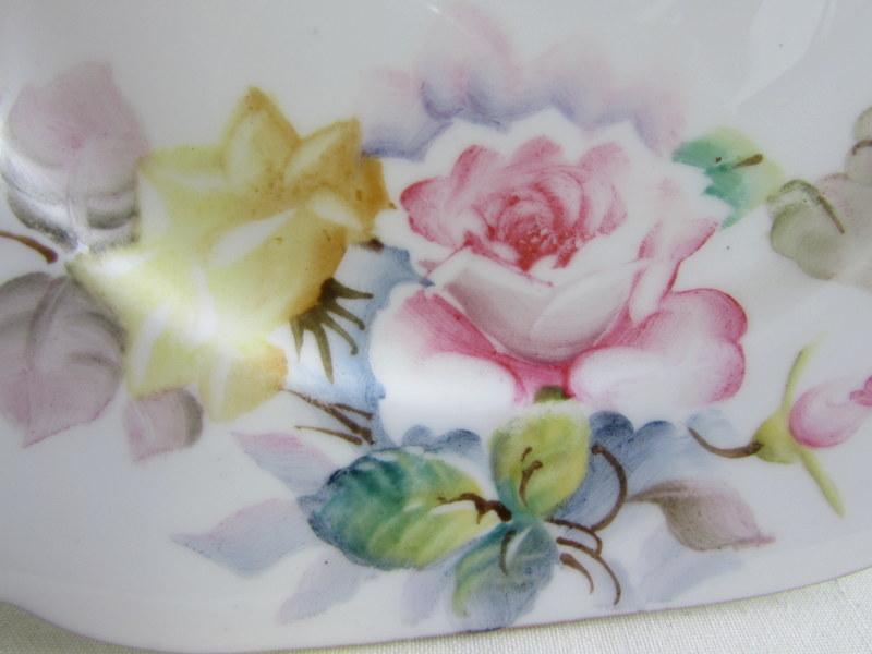 手描き スクエアプレート 3枚セット バラ ハンドペイント ボーンチャイナ