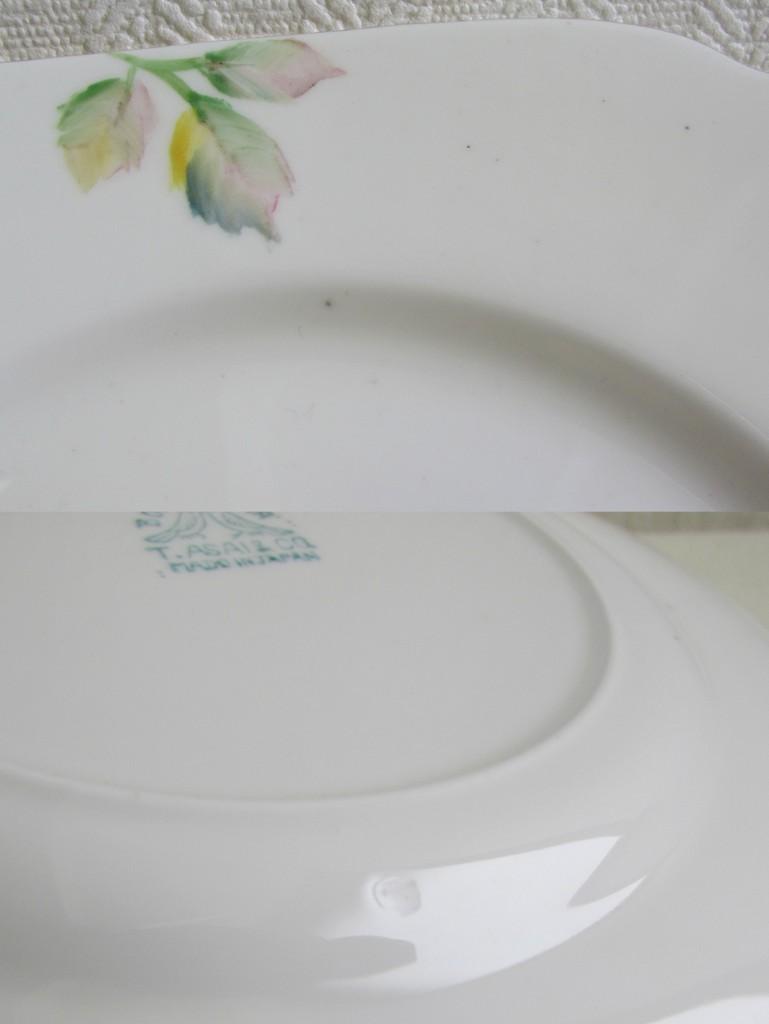 手描き スクエアプレート 2枚セット ハンドペイント バラ ボーンチャイナ