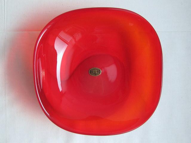 マルティグラス 赤い盛鉢 中鉢 菓子器