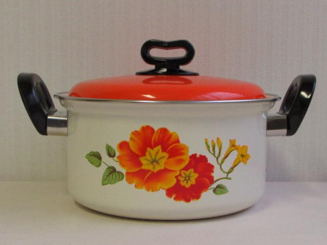 RP027 サンコーウェア ホーロー両手鍋 22cm オレンジ 花柄