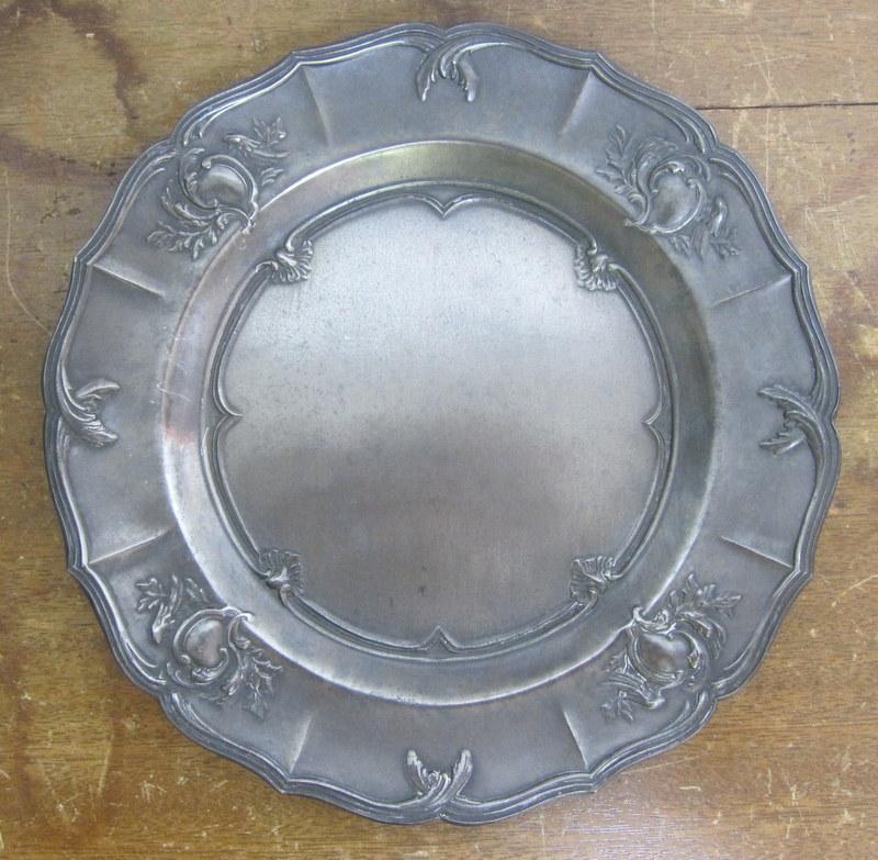 エタン(ピューター・錫)の古いプレート 24cm