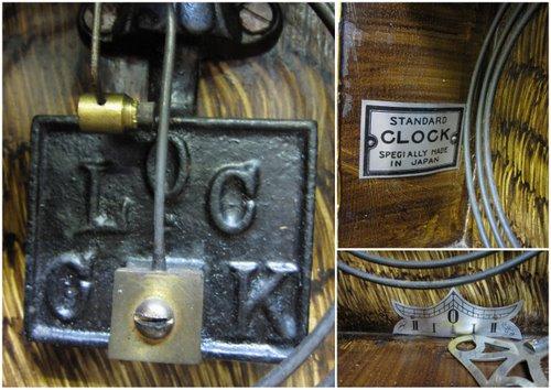 CW008 尾張時計 宮付き柱時計 色ガラス入り