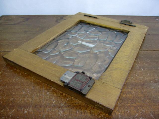 古い窓枠 銭湯のロッカーの扉『1』 レトロガラス入り