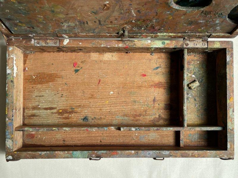 古い絵の具・画材セットの木箱07