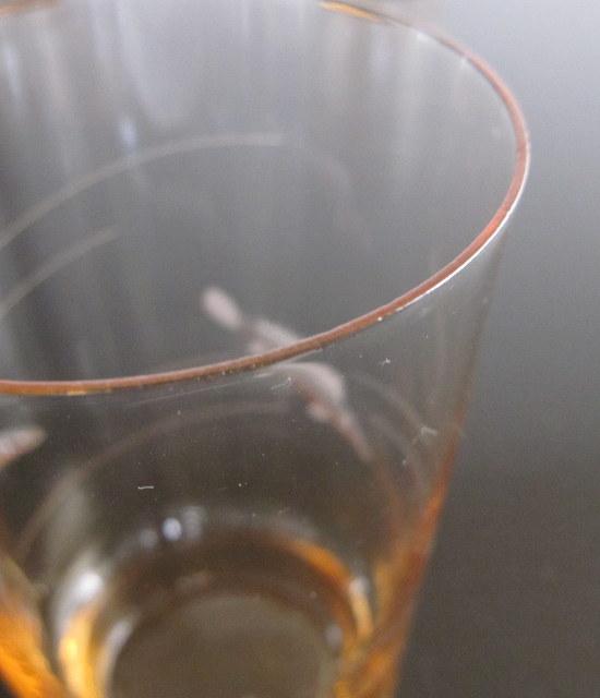 昭和レトロ オレンジの魚柄切子グラス 4個セット