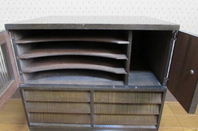 FS024 古いレコードラック モールガラス入りレコードケース 書類棚 収納棚