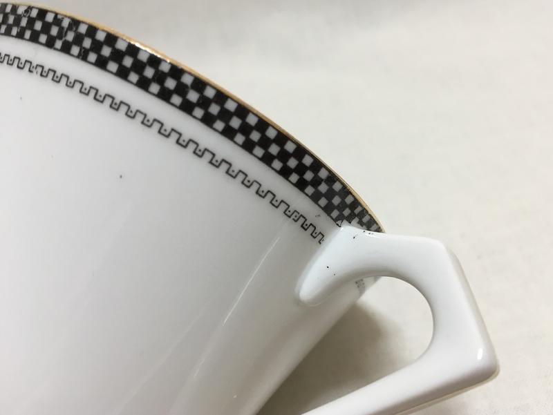 オールドノリタケ カップ&ソーサー 市松模様 幾何学模様の縁取り 2
