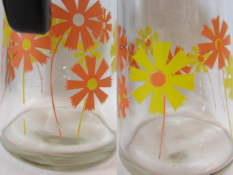 アデリア ピッチャー 黄色とオレンジの花柄
