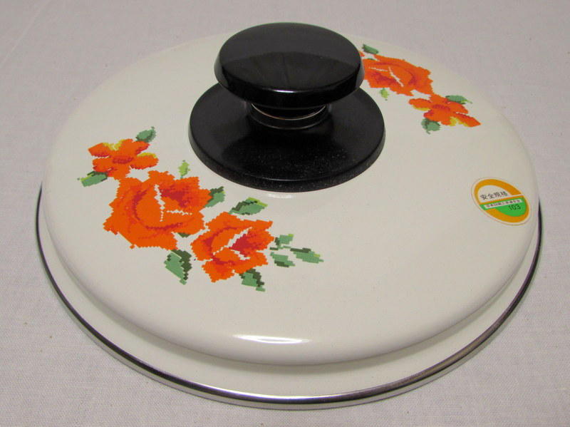 RP033 ホーロー片手鍋 18cm オレンジのバラ
