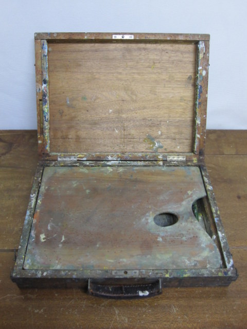 古い絵の具・画材セットの木箱 04