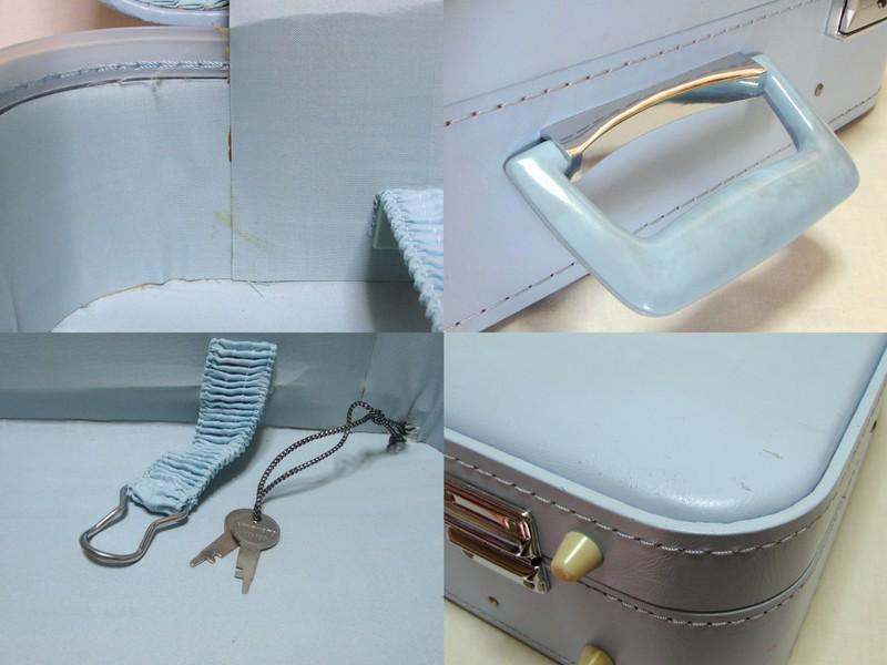 HINOMOTO ヒノモト 古いスーツケース 水色 トランク