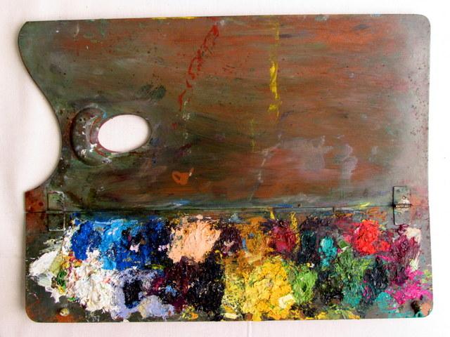 古い絵の具・画材セットの木箱 05