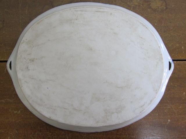 文人図 楕円大皿 印判 染付