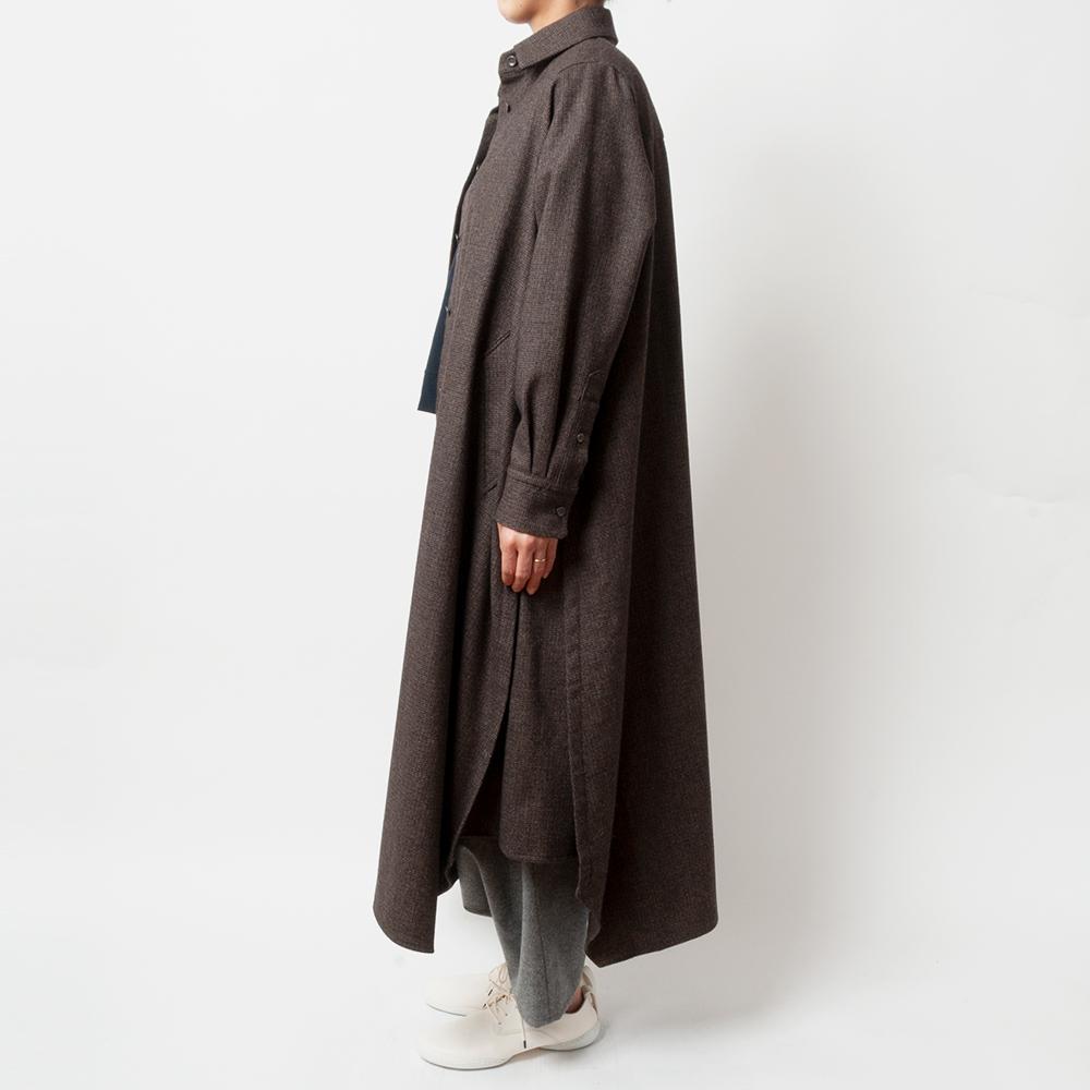 [RaPPELER] RECYCLING WOOL & COTTON DRESS_BROWN