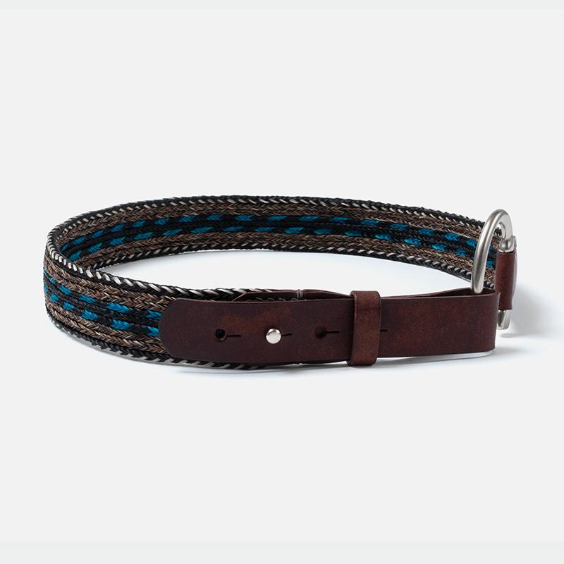 [Harriss] HORSE HAIR BELT_BROWN × BLUE(72)