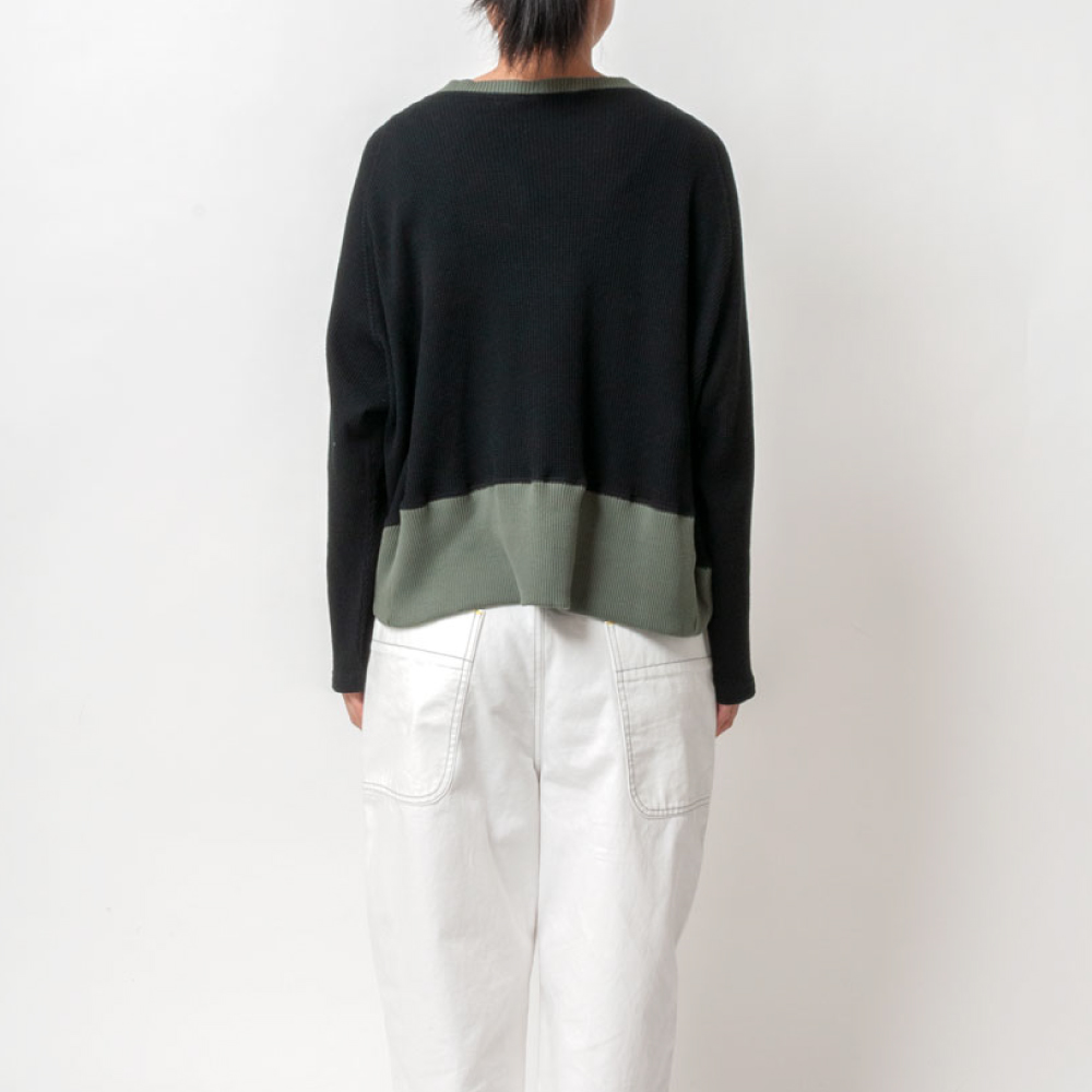 [RaPPELER]  3way cotton waffle cardigan_black