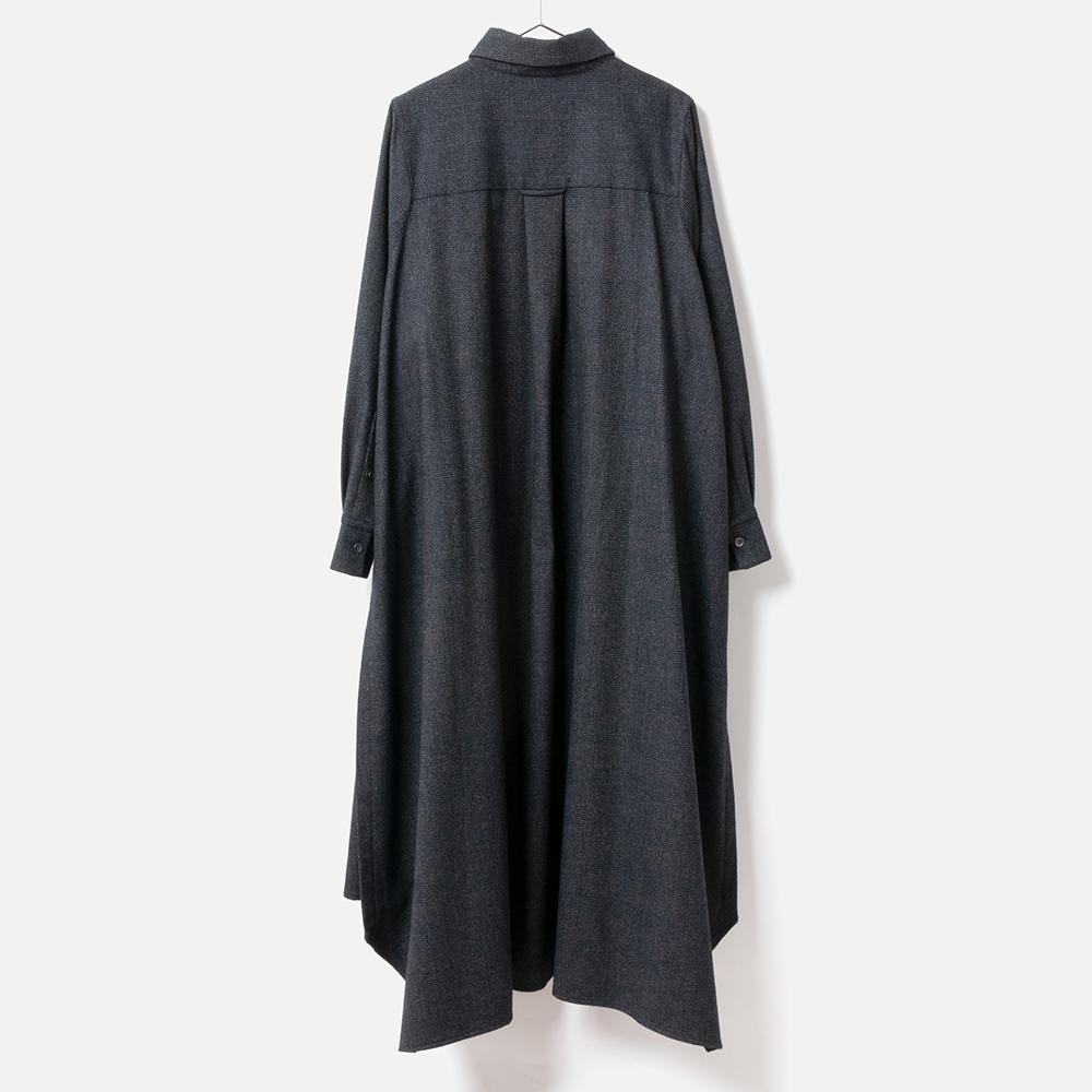 [RaPPELER] RECYCLING WOOL & COTTON DRESS_NAVY