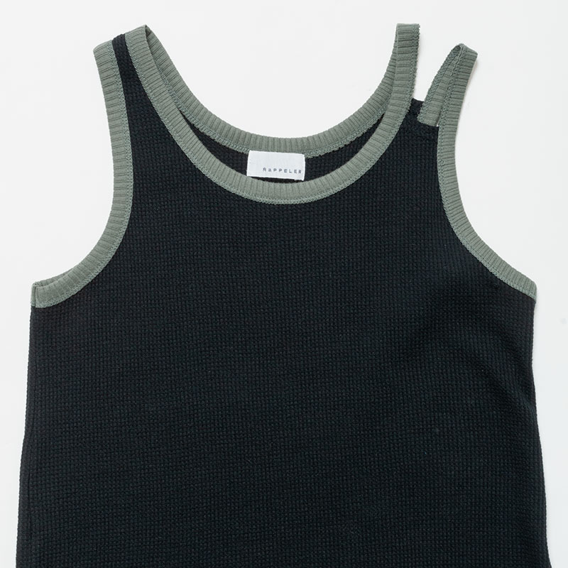 [RaPPELER]  3way cotton waffle long tank_black