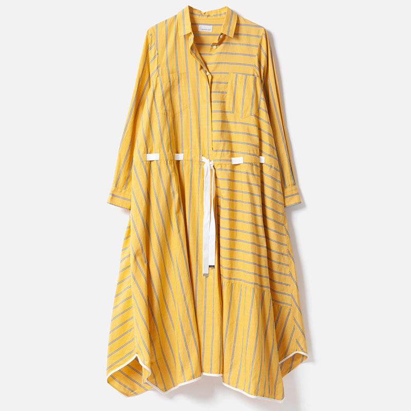 [RaPPELER]  Stripe drawstring one piece_yellow