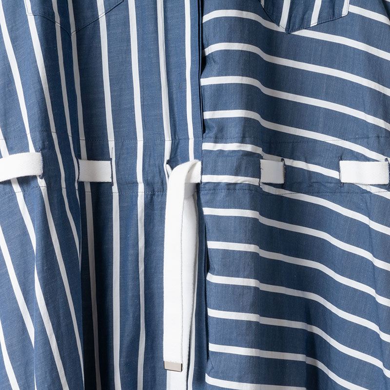 [RaPPELER]  Stripe drawstring one piece_blue