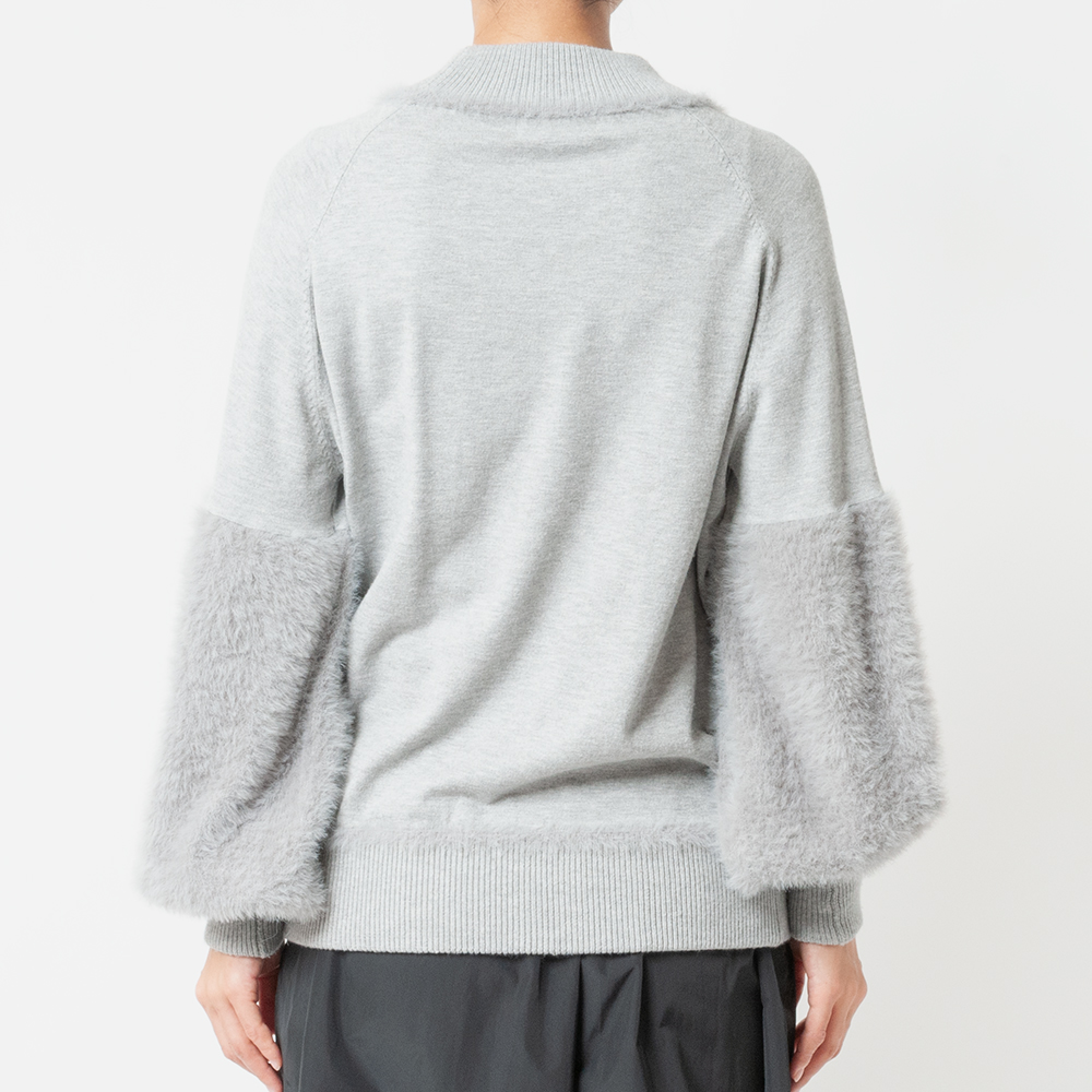 [Harriss] FEATHER YARN MIX KNIT PULLOVER