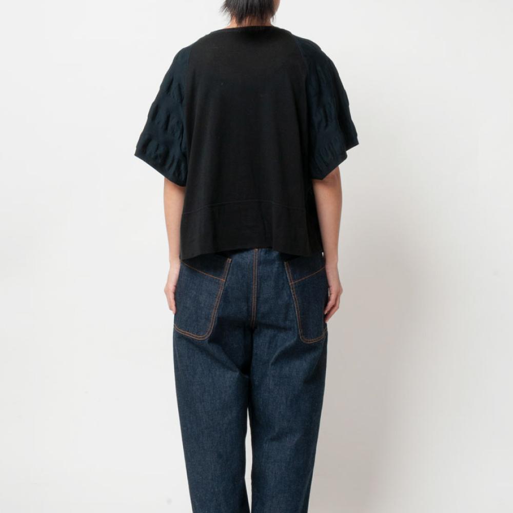 [RaPPELER]  2way Ripple Stripe & Supima Tenjiku Short Sleeve Pullover_black