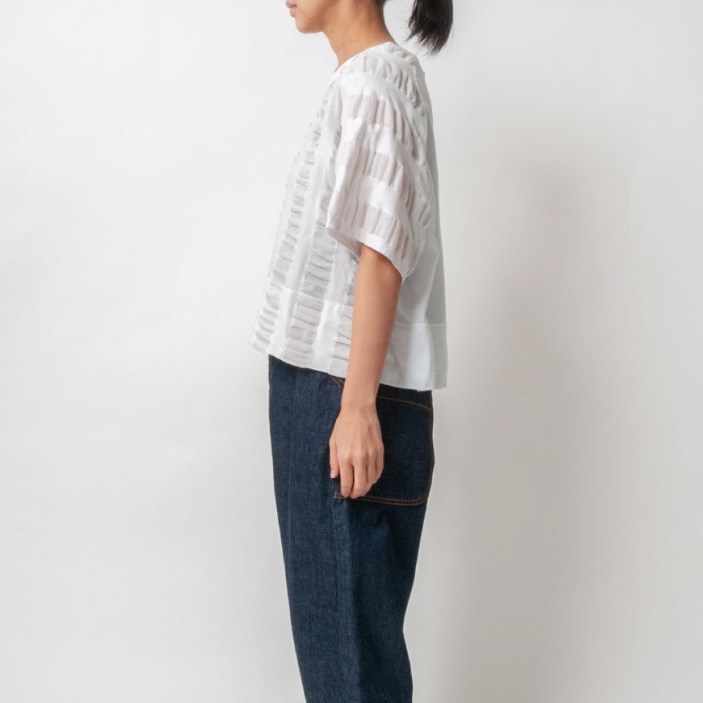 [RaPPELER]  2way Ripple Stripe & Supima Tenjiku Short Sleeve Pullover_white