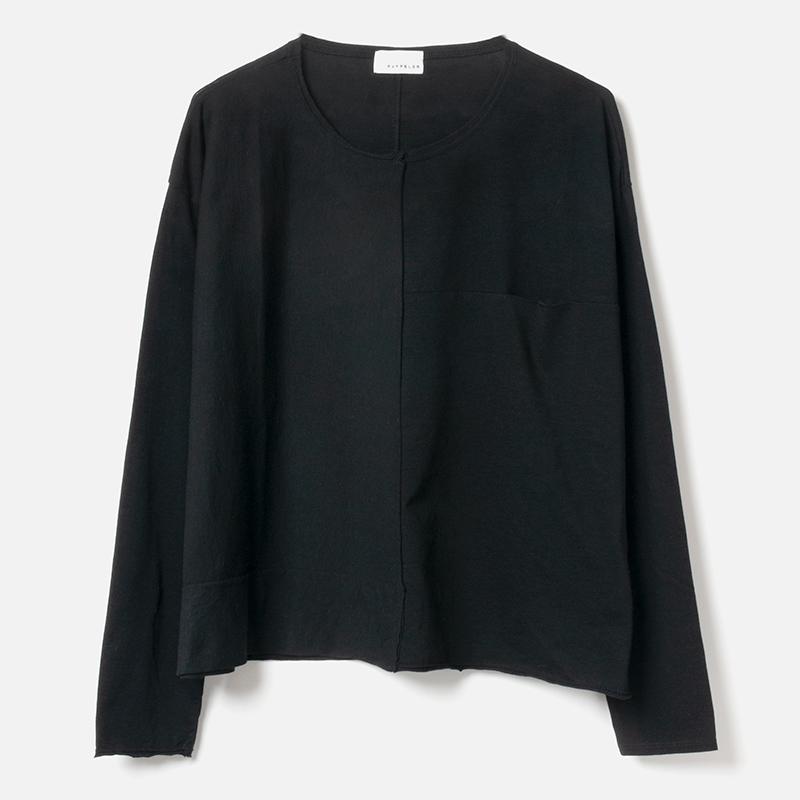 [RaPPELER]  60/Supima Tenjiku Cutoff Long Sleeve Pullover_black