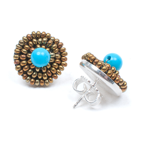[ziio] BOTTONE EARRING ( BLUE )