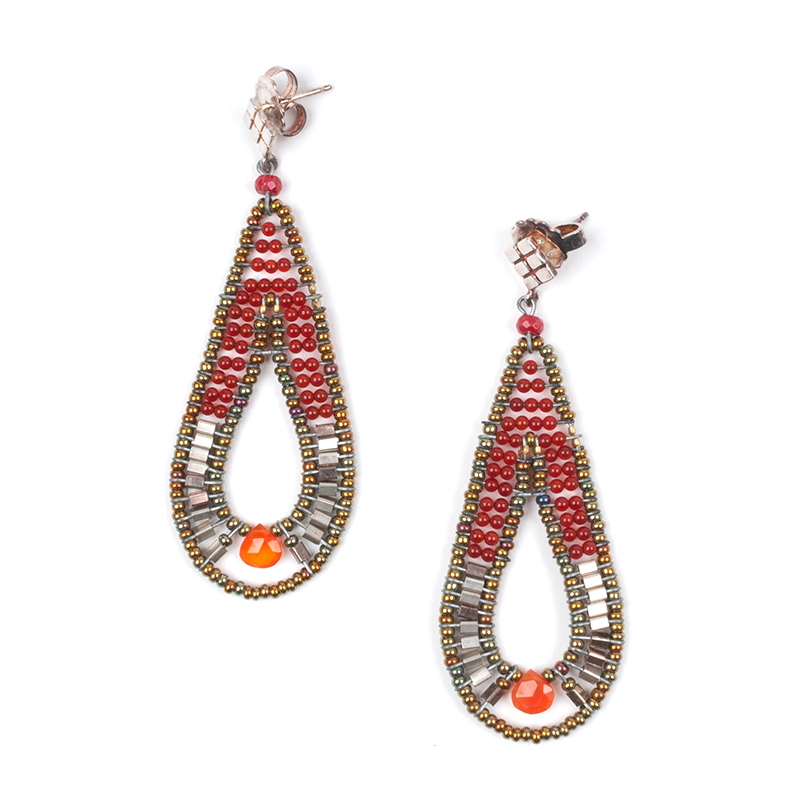 [ziio] DEE PIERCED EARRINGS ( ORANGE )