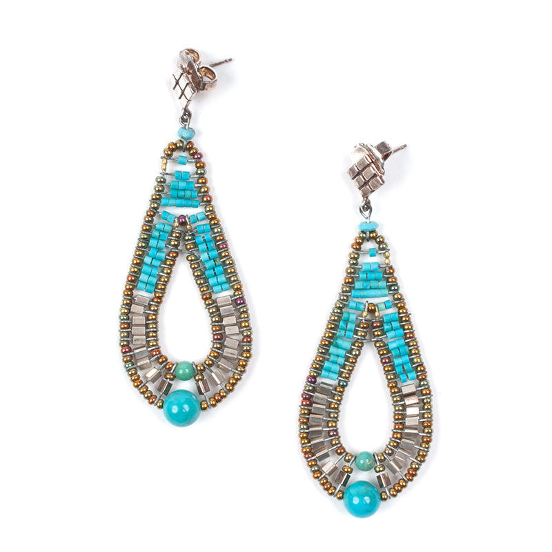 [ziio] DEE PIERCED EARRINGS ( TURQUOIS )