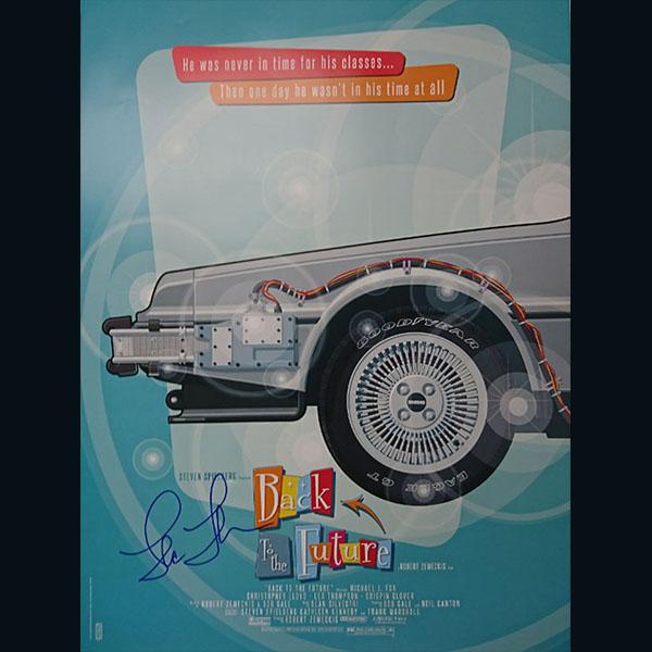 バック・トゥ・ザ・フューチャー  デロリアン・タイムマシン 特製ポスター3種セット クリストファー・ロイド、トーマス・F・ウィルソン、リー・トンプソン 直筆サイン入り 14579