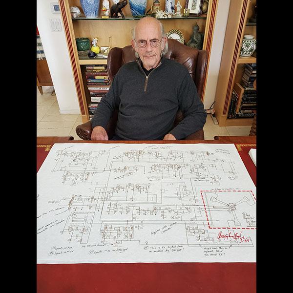 バック・トゥ・ザ・フューチャー  ドクの手書き図面オリジナルプロップ   クリストファーロイド直筆サイン入り 14580