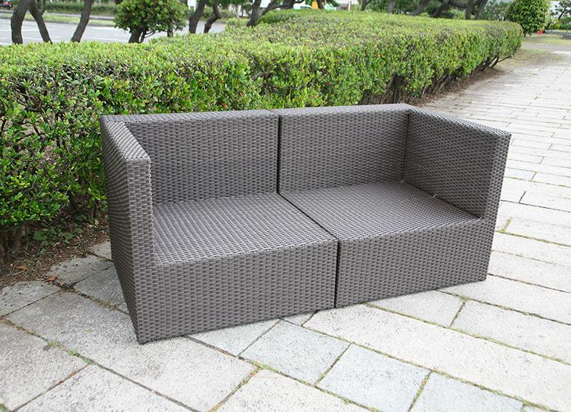 【ガーデンソファ】ラタン 2人掛けソファ