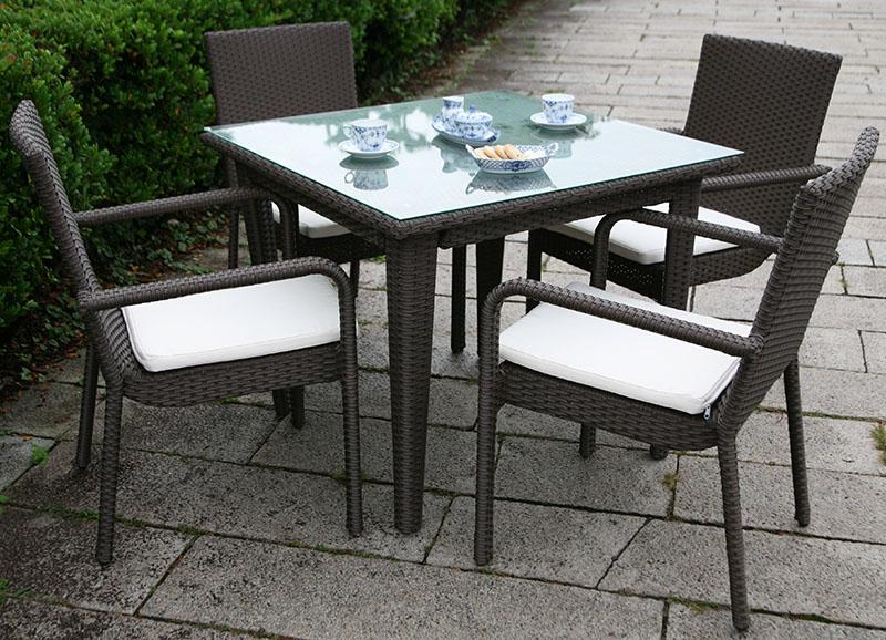 【ガーデンテーブルセット】ラタンスクエアテーブル90 ラタンガーデンアームチェア セット(5点)