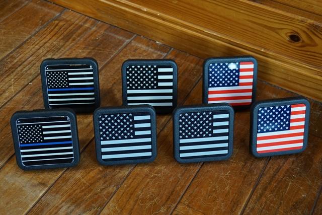 (取り寄せ対応)USA Flag USA フラッグ リフレクティブ ヒッチカバー(ブルーライン・反射タイプ・2インチ)