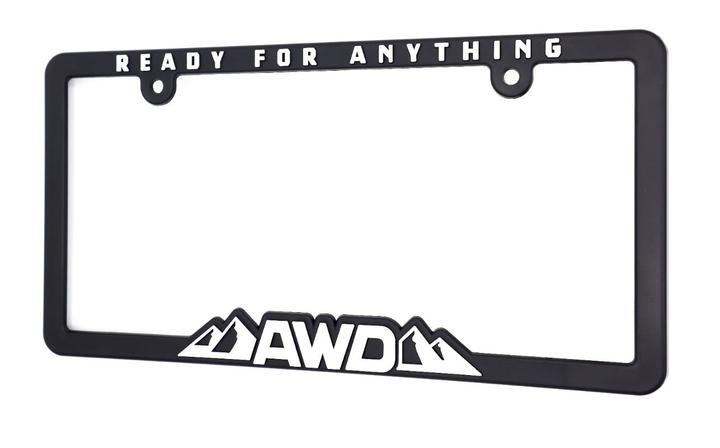 (取寄せ対応!)  AWD All Wheel Drive - Ready for Anything ライセンスプレートフレーム ナンバーフレーム