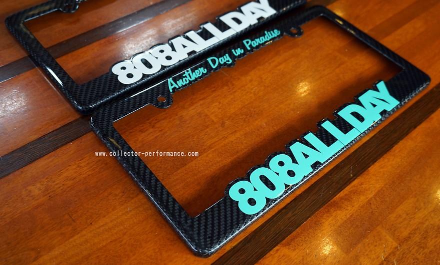 ハワイ マウイ 808ALLDAY リアルカーボン ライセンスプレートフレーム/ナンバーフレーム