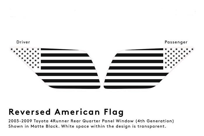 (運転席側(左側)在庫あり!)2003-2009 4Runner 4ランナー 215 ハイラックスサーフ リアウインドウ USA フラッグ デカール
