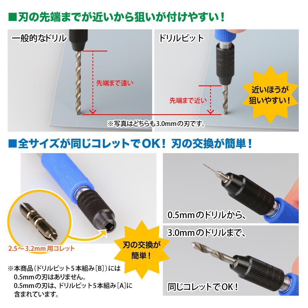 ゴッドハンド ドリルビット5本組[B] 1.0/1.5/2.0/2.5/3.0mm 5本セット ドリル 模型 刃