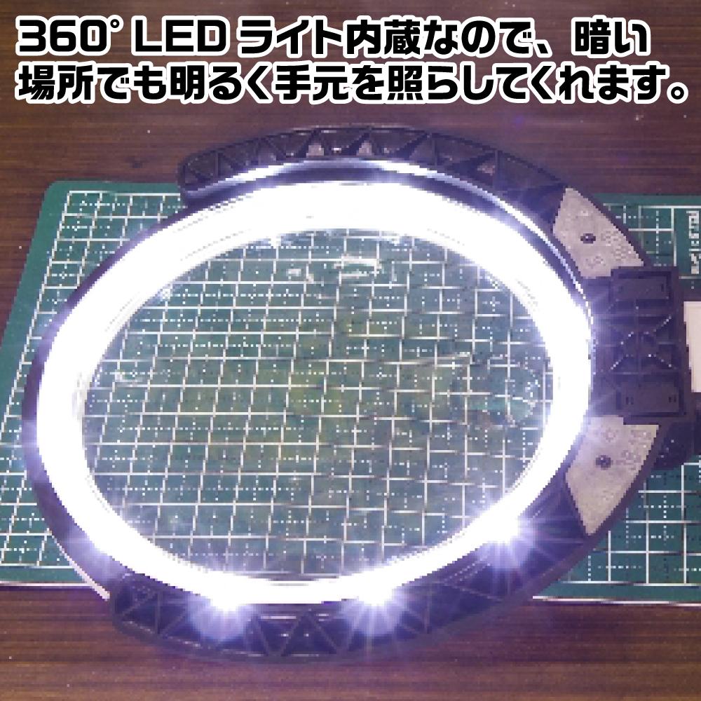 TSK スタンドルーペLEDライト付 1.8倍 (小玉5倍) ネコポス非対応 ルーペ スタンド 作業 精密 LED