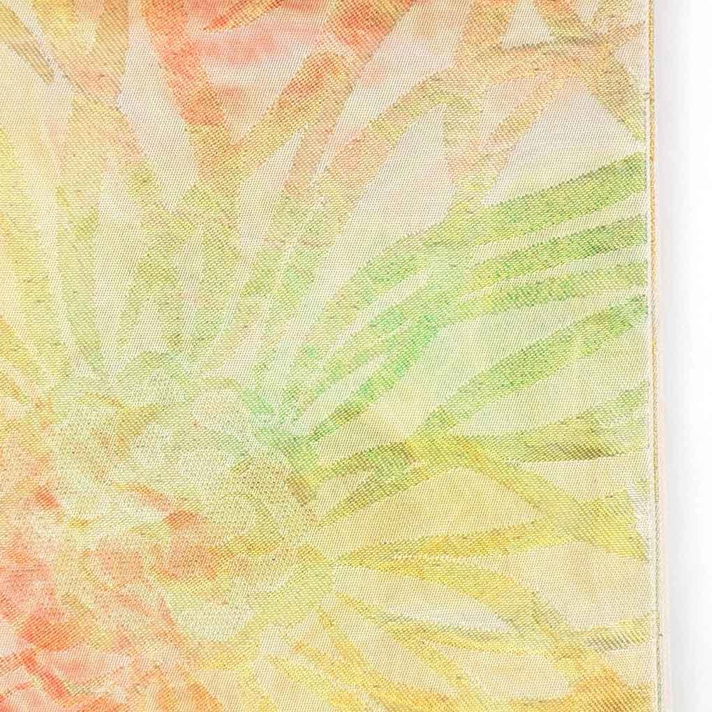 リサイクル帯 袋帯 / 正絹ベージュ地金糸菊柄袋帯 レディース 秋冬春用 シルク マルチカラー フリーサイズ幅31cm 長さ415cm【ランクB】
