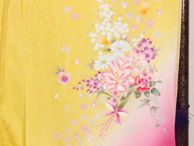 正絹逸品振袖フルセット/薄卵地に桜柄フルオーダー別誂え仕立振袖19点フルセット【新品】