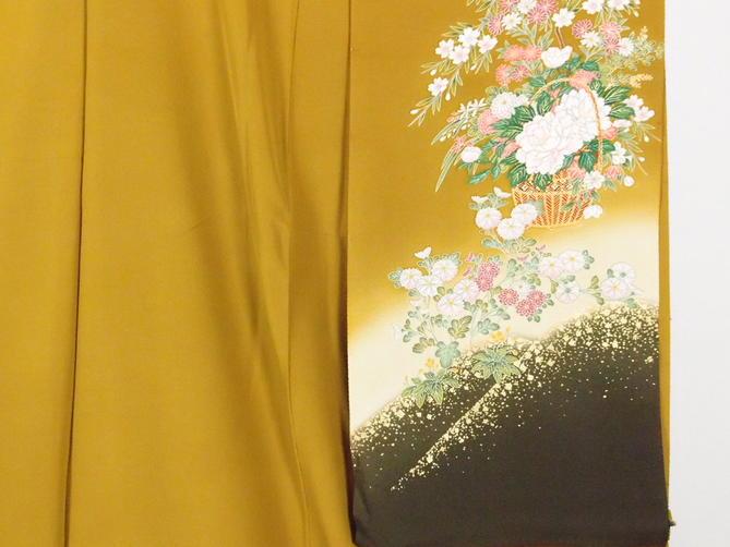正絹逸品振袖フルセット/辛子色に御所車フルオーダー別誂え仕立振袖19点フルセット【新品】