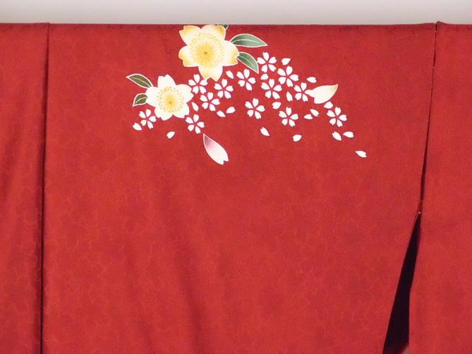 正絹逸品振袖フルセット/赤地に桜柄フルオーダー別誂え仕立振袖19点フルセット【新品】