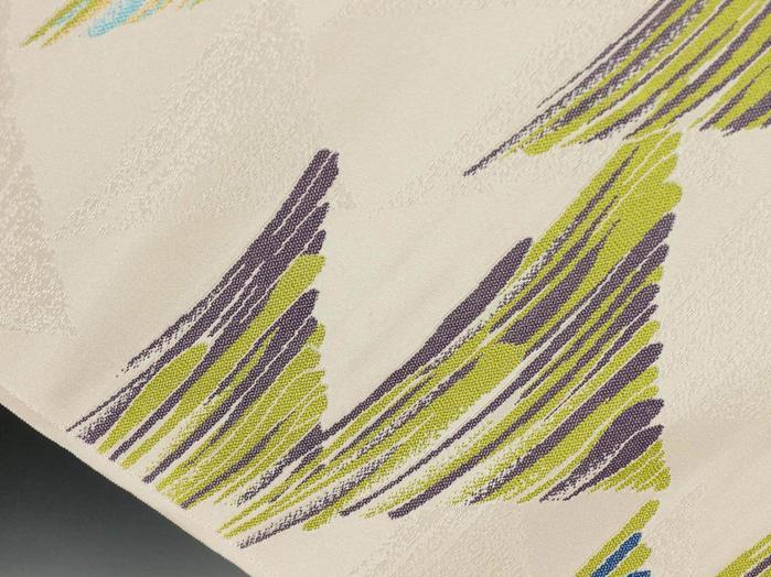 老舗メーカーおおば謹製正絹カジュアル用名古屋帯「墨映鱗文」【新品】